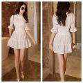Dress Spring 2021 Black, white S,XL,L,M,XXL Middle-skirt singleton  Short sleeve commute Polo collar High waist Solid color Single breasted Princess Dress routine camisole 25-29 years old Splicing 71% (inclusive) - 80% (inclusive) other polyester fiber