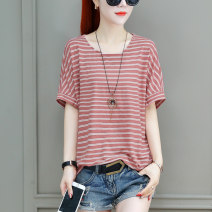 T-shirt S M L XL 2XL 3XL Summer 2021 Short sleeve Crew neck easy Regular routine commute Viscose 31% (inclusive) - 50% (inclusive) 30-39 years old Korean version love Thin horizontal stripe Sophia Pure e-commerce (online only)