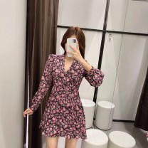 Dress Autumn 2020 Graph color XS,S,M,L Short skirt singleton  Long sleeves commute V-neck High waist Broken flowers Socket A-line skirt routine 25-29 years old Type A Retro printing 31% (inclusive) - 50% (inclusive)