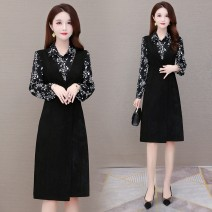 Dress Winter 2020 black M L XL 2XL 3XL 4XL Mid length dress singleton  Long sleeves commute Polo collar High waist Decor Socket Irregular skirt shirt sleeve Others 40-49 years old Type A Just beautiful Korean version Button printing zplBgcq02 More than 95% other polyester fiber