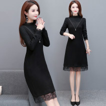 Dress Winter 2020 black L XL 2XL 3XL 4XL Mid length dress singleton  Long sleeves commute Crew neck High waist Solid color Socket A-line skirt routine Others 40-49 years old Type A Just beautiful Korean version Patchwork lace zpl-1160 More than 95% knitting polyester fiber Other polyester 95% 5%