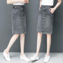 skirt Spring 2021 26/S 27/M 28/L 29/XL 30/XXL 31/XXXL Blue smoky grey longuette commute High waist A-line skirt Solid color Type A QG788XRR 51% (inclusive) - 70% (inclusive) Denim Shallow purchase cotton pocket Korean version Exclusive payment of tmall