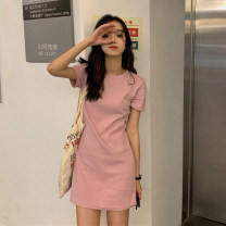 Women's large Spring 2020 Pink yellow purple sky blue black M L XL XXL T-shirt singleton  commute Self cultivation thin Short sleeve Solid color Korean version Crew neck Medium length polyester fiber routine UP332 Mjlanlj / Milan 18-24 years old 96% and above Pure e-commerce (online only)
