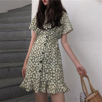Women's large Summer 2020 Red green M L XL XXL Dress singleton  commute Self cultivation thin Socket Short sleeve Plants and flowers Crew neck other Mjlanlj / Milan 18-24 years old 31% (inclusive) - 50% (inclusive) Middle-skirt Polyester 65% Cotton 30% polyurethane elastic fiber (spandex) 5%