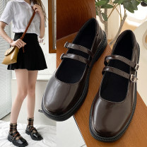 Low top shoes 35 36 37 38 39 LIREEFO Black Brown Round head PU Thick heel Low heel (1-3cm) Shallow mouth PU Spring 2021 Youth (18-40 years old) Single shoes leisure time