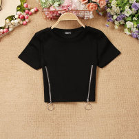 T-shirt Black, white Average size Summer 2020 Short sleeve Crew neck Self cultivation Super short routine commute other 51% (inclusive) - 70% (inclusive) Korean version Solid color zipper