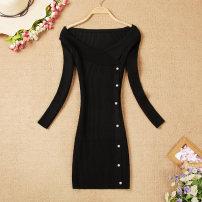 Dress Autumn of 2019 Black, pink Average size Short skirt singleton  Long sleeves commute V-neck High waist Socket Pencil skirt routine Korean version Button knitting