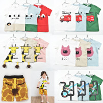 T-shirt Other / other 90cm,100cm,110cm,120cm neutral summer Short sleeve Crew neck leisure time No model nothing cotton Cartoon animation Sweat absorption