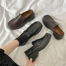 Low top shoes 35 36 37 38 39 Brown Black Square head PU Thick heel Middle heel (3-5cm) Midmouth cloth Spring 2021 Trochanter Korean version Adhesive shoes Youth (18-40 years old) Solid color rubber Single shoes Muffin and platform cloth leisure time