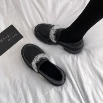 Low top shoes 35 36 37 38 39 Jentina Black upgrade black Round head PU Muffin bottom Middle heel (3-5cm) Midmouth cloth Summer 2021 Trochanter solar system Adhesive shoes Youth (18-40 years old) Solid color rubber Mary Jane shoes Beaded muffin and waterproof table cloth leisure time