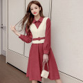 Dress Autumn 2020 Red, blue S,M,L,XL Mid length dress Fake two pieces Long sleeves commute Polo collar middle-waisted Solid color Socket A-line skirt shirt sleeve 18-24 years old Type A Korean version Splicing 51% (inclusive) - 70% (inclusive)