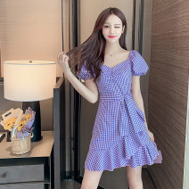 Dress Summer 2020 Purple check S,M,L,XL Short skirt Short sleeve commute One word collar High waist lattice Socket A-line skirt puff sleeve 18-24 years old Type A Korean version