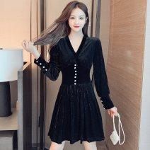 Dress Winter 2020 black S,M,L,XL,2XL Short skirt singleton  Long sleeves commute V-neck High waist Socket A-line skirt bishop sleeve Type A Korean version Bright silk, button