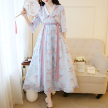 Dress Summer 2021 Apricot, blue S,M,L longuette singleton  Short sleeve commute V-neck Loose waist Decor zipper Big swing routine 18-24 years old Type A Retro 30% and below Chiffon