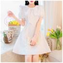 Dress Summer 2021 White, green, black S,M,L Middle-skirt singleton  Short sleeve zipper puff sleeve Type A