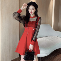 Dress Spring 2021 Red, white, black S,M,L,XL Short skirt singleton  Long sleeves commute Crew neck High waist Solid color Socket A-line skirt routine Type A Splicing polyester fiber