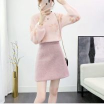 Fashion suit Winter 2020 S,M,L,XL Blue sweater + blue skirt, pink sweater + pink skirt 18-25 years old