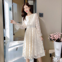 T-shirt Apricot, pink S,M,L,XL Autumn 2020 Long sleeves Doll Collar Self cultivation Medium length pagoda sleeve commute other 51% (inclusive) - 70% (inclusive) Korean version Solid color Other / other