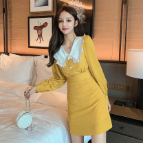 T-shirt Lemon yellow S (less than 100 kg), m (100-110 kg), l (110-120 kg), XL (120-135 kg) Autumn 2020 Long sleeves Doll Collar Self cultivation Medium length routine Sweet other 71% (inclusive) - 85% (inclusive) originality Color matching Stitching, buttons, lace college