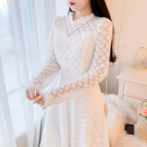 Dress Winter 2020 white S,M,L Mid length dress other Long sleeves Sweet Crew neck middle-waisted Solid color zipper Big swing routine Others 18-24 years old Type A Gouhua, hollowed out, zipper, lace 51% (inclusive) - 70% (inclusive) Lace cotton Mori