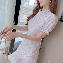 Dress Summer 2021 Picture color S,M,L,XL Middle-skirt singleton  Short sleeve Sweet Decor 18-24 years old 7834#