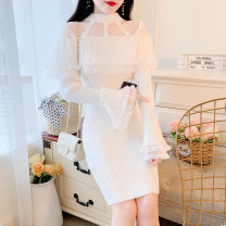 Dress Autumn 2020 white S,M,L Short skirt singleton  Long sleeves commute Crew neck middle-waisted Solid color Socket One pace skirt pagoda sleeve Others 18-24 years old Type A lady Lotus leaf, nail bead, gauze net 31% (inclusive) - 50% (inclusive) knitting cotton