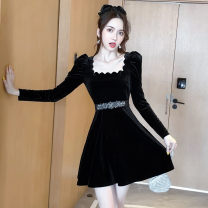 Dress Autumn 2020 Black [same belt for free] S,M,L,XL,2XL Short skirt singleton  Long sleeves commute square neck High waist Solid color Socket A-line skirt routine Type A Korean version