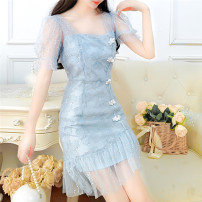 Dress Summer 2020 Blue, pink S,M,L Middle-skirt singleton  Short sleeve commute other High waist Solid color Socket A-line skirt puff sleeve Others 18-24 years old Type A lady five point one eight other other