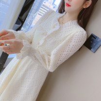 Dress Spring 2021 Apricot S,M,L,XL,2XL Mid length dress singleton  Long sleeves commute Crew neck Elastic waist Solid color Socket A-line skirt other Type A Korean version Fungus, splicing 81% (inclusive) - 90% (inclusive) Lace