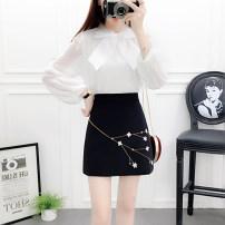 Fashion suit Autumn 2020 S,M,L,XL White top + pink skirt, white top + grey skirt, white top + black skirt 18-25 years old