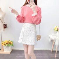 Fashion suit Autumn 2020 S,M,L,XL Pink sweater + white skirt, white sweater + black skirt, single pink sweater, single white sweater, single white skirt, single black skirt