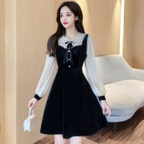 Dress Winter 2020 black S,M,L,XL,2XL Short skirt Fake two pieces Long sleeves commute Doll Collar High waist Solid color Socket A-line skirt bishop sleeve Others Type A Korean version