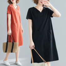 Women's large Spring 2021 Black blue brick red Large XL [recommended 90-120 kg] large 2XL [recommended 120-140 kg] large 3XL [recommended 140-170 kg] large 4XL [recommended 170-210 kg] Dress singleton  commute easy moderate Socket Short sleeve Solid color Korean version other routine 21XZ0274 Ink