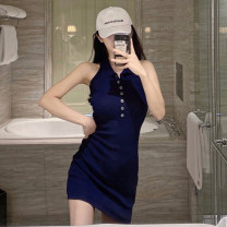 Dress Summer 2020 Blue white S M Short skirt singleton  Sleeveless Sweet Polo collar High waist Solid color Single breasted A-line skirt other Hanging neck style 18-24 years old Type A Xiangdona Open back button 6DXH504-D_ two thousand five hundred and twelve More than 95% other Other 100% Ruili