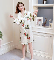 Pajamas / housewear set female Other / other M,L,XL,XXL Apricot, pink dog, blue dog, pink rose, black stripe, fresh coconut, blue pure peach heart, blue pure rose, red robe Iced silk Thin money More than 95%