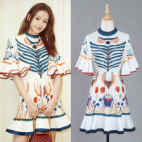 Dress Summer 2020 Printed skirt S,L,M Short skirt singleton  elbow sleeve street Crew neck middle-waisted Decor zipper Ruffle Skirt pagoda sleeve Others 25-29 years old Type X Printing, splicing other polyester fiber
