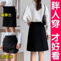 skirt Summer 2020 S M L XL 2XL 3XL 4XL 5XL black Short skirt Versatile High waist A-line skirt Solid color Type A 25-29 years old Q2012 81% (inclusive) - 90% (inclusive) brocade Lu Qian cotton pocket Cotton 90% polyurethane elastic fiber (spandex) 10% Pure e-commerce (online only)