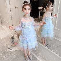 Dress Light blue, pink female Other / other 110cm,120cm,130cm,140cm,150cm,160cm Other 100% spring Korean version Long sleeves Broken flowers Netting Cake skirt Xls516 & 2021y02 Candy Bag yarn skirt Class B Three, four, five, six, seven, eight, nine, ten, eleven Chinese Mainland Zhejiang Province