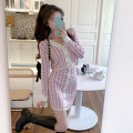 Women's large Autumn 2020 Thousand bird suit S M L XL 2XL 3XL Dress singleton  commute Self cultivation moderate Socket Long sleeves houndstooth  Korean version V-neck have cash less than that is registered in the accounts other JFM9159B08 Janfeimi Button 91% (inclusive) - 95% (inclusive) Short skirt