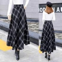 skirt Winter 2020 S,M,L,XL,2XL,3XL Black, gray longuette Versatile High waist A-line skirt lattice EC6EDF070 Wool other