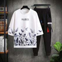 T-shirt Youth fashion White pants suit, black pants suit, khaki pants suit, white shorts suit, black shorts suit, Khaki Shorts suit, white one-piece top, black one-piece top, khaki one-piece top routine 165/M,170/L,175/XL,180/2XL,185/3XL Aon stepping on snow three quarter sleeve Crew neck easy spring