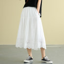 skirt Spring 2020 Average size White black dark grey coffee Mid length dress commute Natural waist A-line skirt Solid color dza90517 More than 95% Dza (clothing) cotton Ruffle cut out literature Cotton 100% Pure e-commerce (online only)