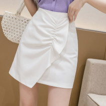 skirt Summer 2020 S,M,L,XL Purple, black, green, white Short skirt Versatile High waist Irregular Solid color Type A 18-24 years old 51% (inclusive) - 70% (inclusive) Chiffon OO polyester fiber Ruffle, asymmetric, zipper 201g / m ^ 2 (including) - 250G / m ^ 2 (including)
