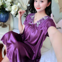 Nightdress Other / other Sapphire blue, red, rose red, watermelon red, light purple, black, deep purple, bright pink, bean paste, deep magenta Simplicity Short sleeve V-neck silk