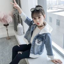 Plain coat Shun Yi Bei Er female 100cm 110cm 120cm 130cm 140cm 150cm 160cm spring and autumn Korean version Single breasted There are models in the real shooting Thin money Detachable cap Solid color Cotton elastic denim other Other 100% Class B Spring of 2019