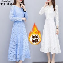 Dress Polyester 90% others 10% Pure e-commerce (online sales only) 81% (inclusive) - 90% (inclusive) polyester fiber Korean version M-68688 Medium length skirt Long sleeve Winter of 2019 Lace Condom singleton  Crew neck commute middle-waisted Solid color routine A-line skirt 25-29 years old Type A