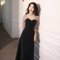 Dress / evening wear Weddings, adulthood parties, company annual meetings, daily appointments XS S M L XL XXL tailor made without return (contact customer service) grace longuette middle-waisted Winter of 2019 A-line skirt Deep collar V zipper 18-25 years old Long sleeves Solid color Tiyasha