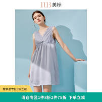 Nightdress American Standard 020617 premium grey 160(M) 165(L) 170(XL) 175(XXL) sexy Sleeveless pajamas Middle-skirt summer Solid color youth V-neck silk lace More than 95% silk 200g and below Summer 2020 Mulberry silk 100% Same model in shopping mall (sold online and offline)