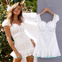 Dress Summer of 2019 white L,M,S Short skirt singleton  Short sleeve Sweet other High waist Solid color other other routine Others Embroidery, bandage, backless OMLJ8842 71% (inclusive) - 80% (inclusive) other princess