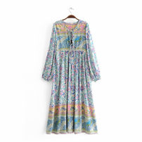 Dress Summer of 2018 Decor L,M,S Mid length dress singleton  Long sleeves Sweet V-neck Loose waist Decor other other bishop sleeve Others Print, lace up OMYP8267 71% (inclusive) - 80% (inclusive) cotton Bohemia